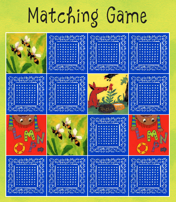 Thumbnail of matching game, with cards turned over.