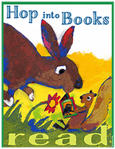 A squirrel is reading his book while a rabbit nearly hops over him